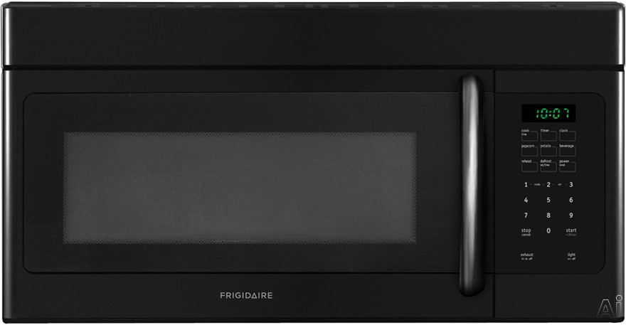 Frigidaire FFMV162LB 1.6 cu. ft. Over-the-Range Microwave with 1,000 Watts, 10 Power Levels, Two Speed 300 CFM Venting System, Ready Select Controls, Fits-More Capacity, Multi-Stage Cooking, Glass Turntable and Convertible to Non-Ducted Operation: Black
