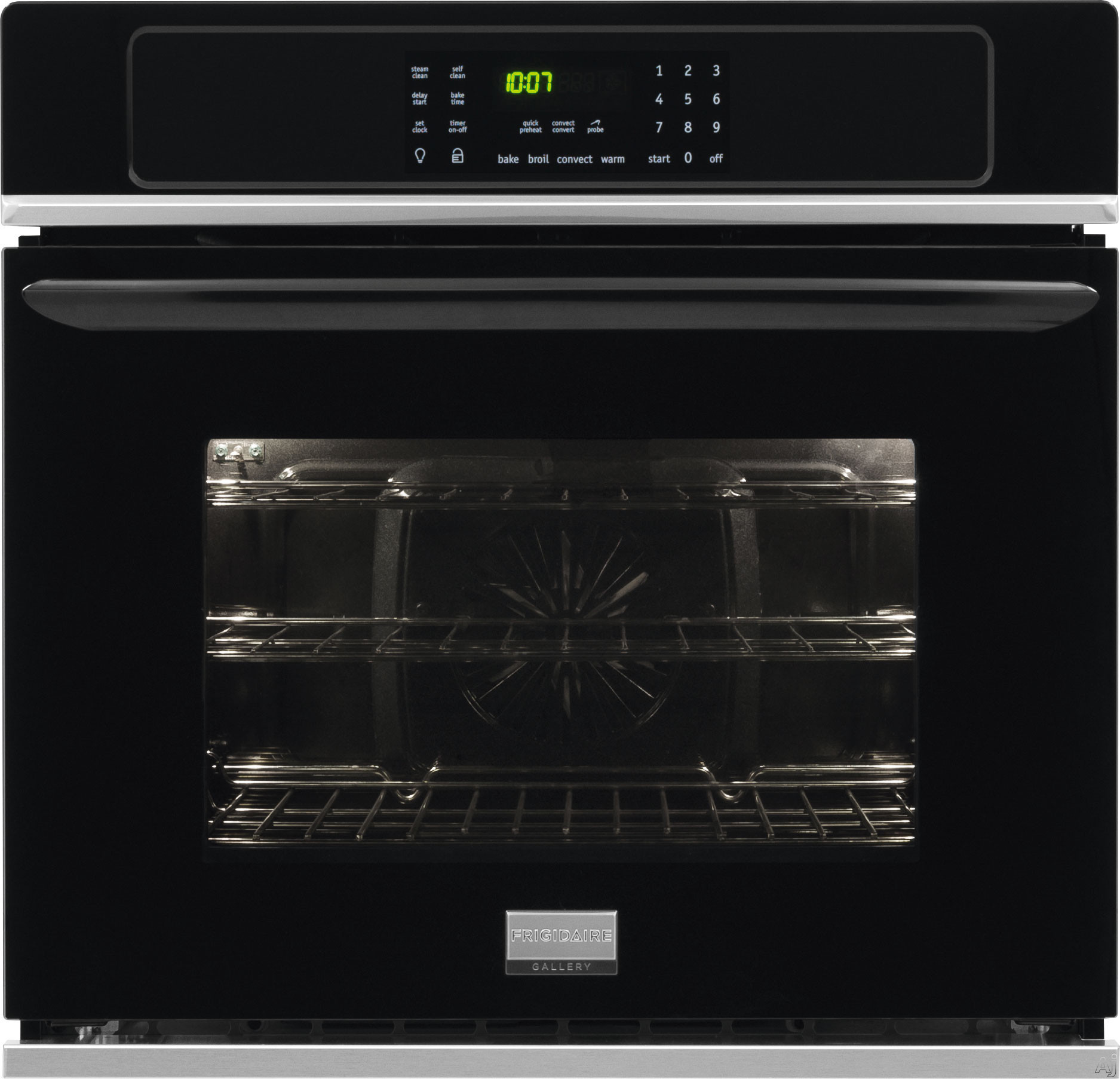 "Frigidaire Gallery Series FGEW3065PB 30 Inch Single Electric Wall Oven with True Convection, Quick Preheat, Effortlessâ""¢ Convection, Delay Start, One-Touch Keep Warm, Auto Shut-Off, Temperature P"