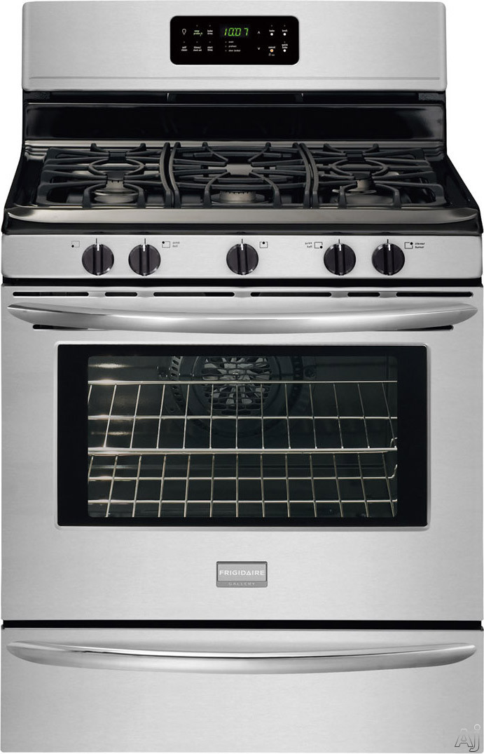 "Frigidaire Gallery Series FGGF3032MF 30"" Freestanding Gas Range with 5 Sealed Burners, 5.0 cu. ft. Quick Bake Convection Oven, Self-Clean, Temperature Probe and Storage Drawer: Stainless Steel"