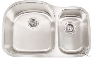 Frigidaire FRG3220D97X 31 Inch Undermount Double Bowl Stainless Steel Sink with 18-Gauge, 9 Inch Large Bowl Depth, Stain/Corrosion Resistant, Satin Finsh, Grids and Strainers
