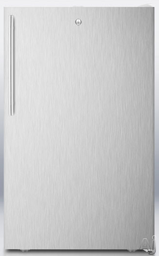 AccuCold FS407LSSHVADA 20 Inch Compact Freezer with Pull-Out Drawers, Factory Installed Lock, Manual Defrost, -20° Capable, Adjustable Thermostat, Flat Door Liner and 2.8 cu. ft. Capacity: Stainless Steel with Thin Handle: Stainless Steel, ADA Compliant