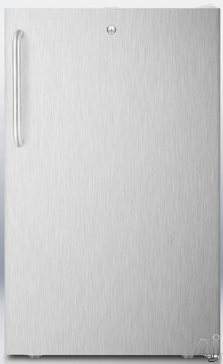 AccuCold FS407LSSTBX 20 Inch Compact Freezer with Pull-Out Drawers, Factory Installed Lock, Manual Defrost, -20° Capable, Adjustable Thermostat, Flat Door Liner and 2.8 cu. ft. Capacity: Stainless Steel with Towel Bar Handle