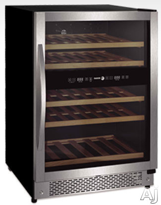 "Fagor FSV144US 24"" Undercounter Dual-Zone Wine Cooler with 44-Bottle Capacity, Solid Beechwood Glide, U.S. & Canada FSV144US"