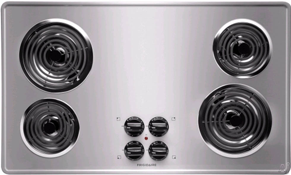 Frigidaire FFEC3605L 36 Inch Electric Cooktop with 4 Coil Heating Elements, Brushed Chrome Surface and Ready-Select Controls