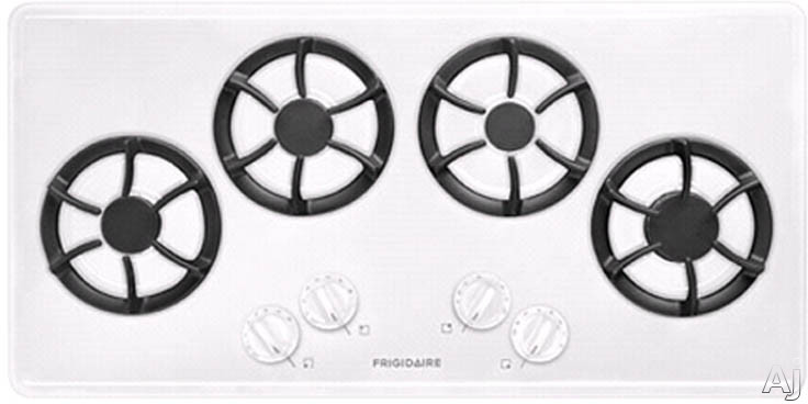 Frigidaire FFGC3613LW 36 Inch Gas Cooktop with 4 Sealed Burners, Cast Iron Grates, Low Simmer Burner and Ready-Select Controls: White