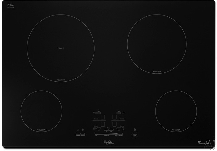 whirlpool gci3061xb 30 induction cooktop with 4 cooking zones 9 heat level settings automatic. Black Bedroom Furniture Sets. Home Design Ideas
