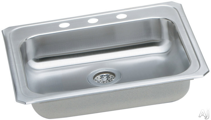Image of Elkay Celebrity Collection GECR25213 25 Inch Top Mount Single Bowl Stainless Steel Sink with 20-Gauge, 5-3/8 Inch Bowl Depth, ADA Compliant and Center Rear Drain Opening: 3 Holes