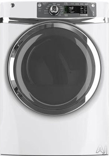 GE GFDR480GF 28 Inch 8.3 cu. ft. Gas Dryer with 12 Dry Cycles, 5 Temperature Selections, Steam, RightHeight Built-In Pedestal, Detangle Assist, eDry and eMonitor, Speed Dry, Dewrinkle, Extended Tumble, ADA Compliant and HE Sensor Dry GFDR480GF