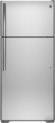 GE GIE16GSHSS 28 Inch Top-Freezer Refrigerator with 15.5 cu. ft. Capacity, 2 Adjustable Spillproof Shelves, Gallon Door Storage, Upfront Temperature Controls, Never Clean Condenser, ADA Compliant, ENERGY STAR and Factory Installed Ice Maker