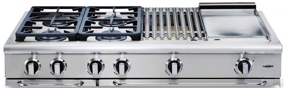 "Capital Precision Series GRT606BGN 60 Inch Pro-Style Gas Rangetop with 6 Power-Floâ""¢ Sealed Burners, InfraQâ""¢ BBQ Grill, 12"" Thermo-Griddleâ""¢, EZ-Glidesâ""¢ Drip Trays, Tru-Sideâ""¢ Channeling Grates and Stay-Cool Knobsâ""¢: Natural Gas"