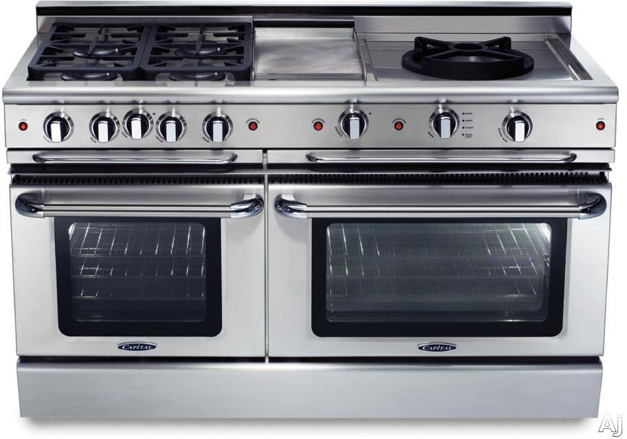 Capital Precision Series GSCR604BG 60 Inch Pro-Style Gas Range with 4 Power-Flo Sealed Burners, 4.6 cu. ft. Convection Large Oven, Self-Clean, 24 Inch Griddle, 12 Inch Grill and Motorized Rotisserie GSCR604BG