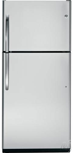 GE GTZ18ICESS 18 cu. ft. Top Freezer Refrigerator with Adjustable Glass Shelves, Upfront Temperature, U.S. & Canada GTZ18ICESS