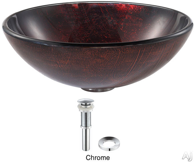 Kraus Copper Series GV682CH 16-1/2 Inch Saturn Glass Vessel Sink with 5-1/2 Inch Bowl Depth, Pop-Up Drain, Textured Exterior and Hand Crafted Design: Chrome Hardware GV682CH