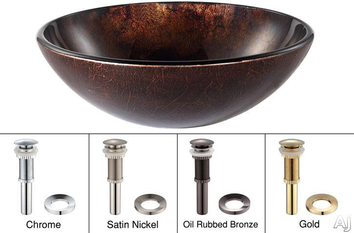 "Kraus Copper Series GV683 16-1 / 2"" Jupiter Glass Vessel Sink with 5-1 / 2"" Bowl Depth, 12mm Glass, U.S. & Canada GV683"