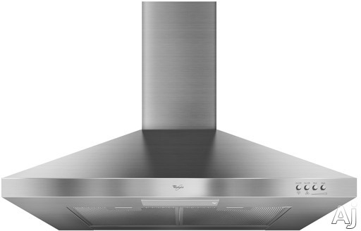 Whirlpool GXW7330DXS Wall Mount Chimney Range Hood with 300 CFM Centrifugal Blower, 3-Speed Push Button Control, Energy Efficient Fluorescent Lighting, Energy Star Qualified and Damper Included: 30 in. Width