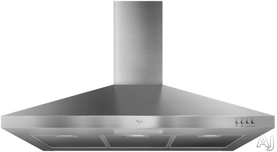 Whirlpool GXW7336DXS Wall Mount Chimney Range Hood with 300 CFM Centrifugal Blower, 3-Speed Push Button Control, Energy Efficient Fluorescent Lighting, Energy Star Qualified and Damper Included: 36 in. Width
