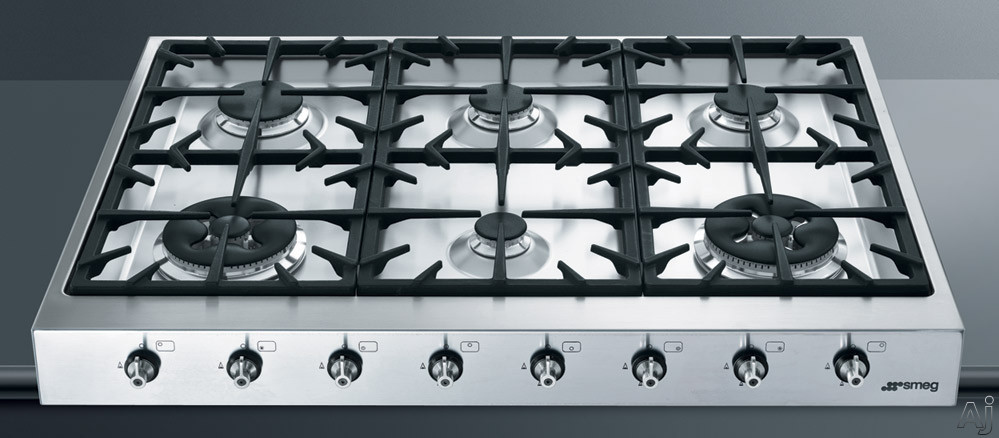 """Electronic Ignition - Smeg HB96CXU3 36"""" Pro-Style Gas Rangetop With 6 Sealed Burners Including 2 Double Inset Super Burners Automatic Electronic Ignition Full-Width Continuous Grat"""