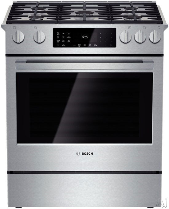 Image of Bosch Benchmark Series HDIP054U 30 Inch Slide-in Dual-Fuel Range with 5 Sealed Burners, 4.6 cu. ft. European Convection Oven, 20,000 BTU Center Burner, Warming Drawer, Star-K Certified and Self-Cleaning Modes
