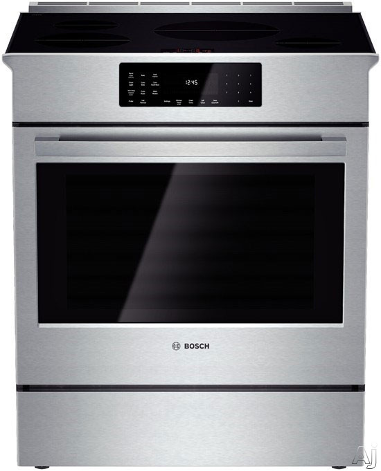 "Bosch Benchmark Series HIIP054U 30"" Slide-in Induction Range with 4 Heating Elements, 4.6 cu. ft. European Convection Oven, Self-Clean, 11 Cooking Modes, Meat Probe and Warming Drawer"