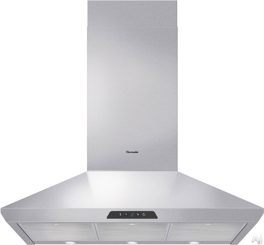 Thermador Masterpiece Series HMCB Wall Mount Chimney Range Hood with 600 CFM Internal Blower, Halogen Lights, 4-Speed Touch Controls and 7 Segment Electronic Display