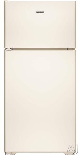 Hotpoint HPS15BTHLCC 146 cu ft Top Freezer Refrigerator with 3 Fresh Food Shelves Dairy Compartment Reversible Hinges Gallon Door Storage and Never Clean Condenser Bisque Left Hinge Door Swing
