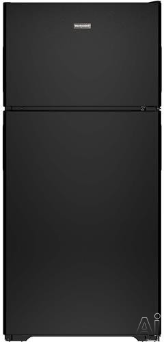 Hotpoint HPS15BTHRBB 28 Inch Top-Freezer Refrigerator with 3 Fresh Food Shelves, Dairy Compartment, Reversible Hinges, Gallon Door Storage, ADA Compliant and Never Clean Condenser: Black, Right Hinge Door Swing