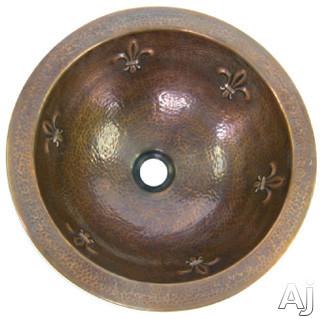 "Houzer The Hammerwerks Collection HWFAMRF 15"" Undermount Single Bowl Fleur-Di-Lis Lavatory Sink with, U.S. & Canada HWFAMRF"