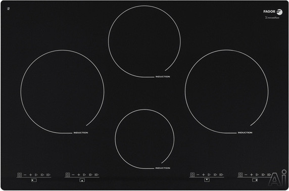Fagor IFA80BF 30 Inch Induction Cooktop with 4 Cooking Zones, 12 Cooking Settings, 3 Quick Launch Commands, 7-Point Safety System and Illuminated Touch Controls: Beveled Front without Trim