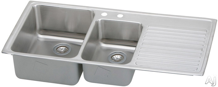 Elkay Gourmet Collection ILFGR4822L 48 Inch Top Mount Double Bowl Stainless Steel Sink with 18-Gauge, 10 Inch Large Bowl Depth, Self-Rim and Bowls Left Of Ribbed Work Area ILFGR4822L