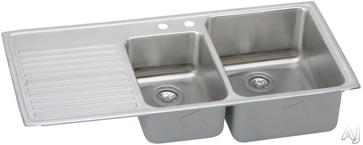 Elkay Gourmet Collection ILFGR4822R 48 Inch Top Mount Double Bowl Stainless Steel Sink with 18-Gauge, 10 Inch Large Bowl Depth, Self-Rim and Bowls Right Of Ribbed Work Area ILFGR4822R