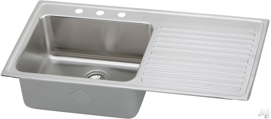 Elkay Gourmet Collection ILGR4322LMR2 43 Inch Top Mount Single Bowl Stainless Steel Sink with 18-Gauge, 10 Inch Bowl Depth, Self-Rim and Bowl Left Of Ribbed Work Area: 2 Holes Middle/Right