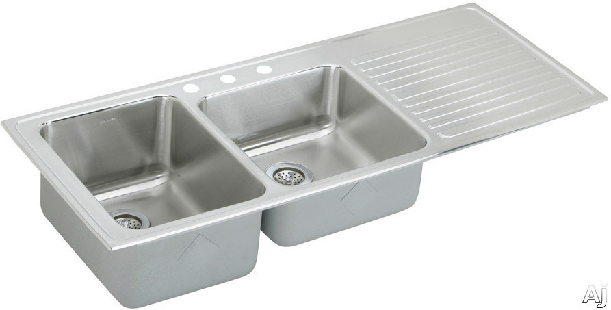 Elkay Gourmet Collection ILGR5422L3 54 Inch Top Mount Double Bowl Stainless Steel Sink with 18-Gauge, 10 Inch Large Bowl Depth, Self-Rim and Bowls Left Of Ribbed Work Area: 3 Holes