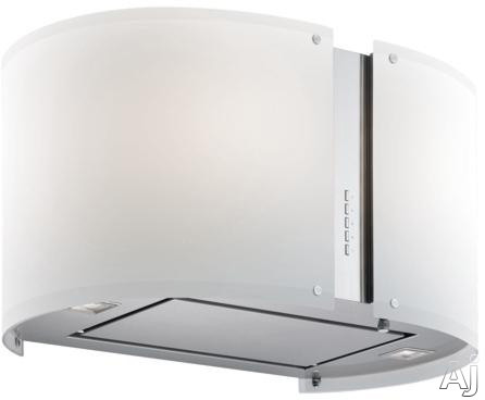 Futuro Futuro Murano Glow Collection IS27MURGLOW Island Mount Chimney Range Hood with 940 CFM Internal Blower, 4 Speed Electronic Controls, 4 Halogen Lights, Tempered Glass Panel and Convertible to Non-Ducted Operation: 27 inch Width