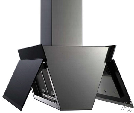 Futuro Futuro Gullwing Series IS36GULLWINGBLK 36 Inch Island Mount Chimney Hood with Gullwing Motorized Glass Panels, 940 CFM Internal Blower, 4-Speed Whisper-Quiet Fan, 4 LED Lights and Convertible to Non-Ducted Operation: Black IS36GULLWINGBLK