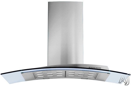 Futuro Futuro Acqualina Series IS36ACQUAGLS Island Mount Chimney Range Hood with 940 CFM Internal Blower 4 Speed Electronic Controls Halogen Lights Tempered Glass Panel and Convertible to Non Ducted Operation 36 Inch Width