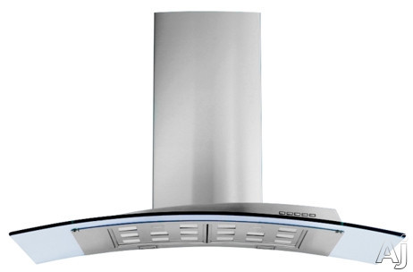 Futuro Futuro Acqualina Series IS42ACQUAGLS Island Mount Chimney Range Hood with 940 CFM Internal Blower 4 Speed Electronic Controls Halogen Lights Tempered Glass Panel and Convertible to Non Ducted Operation 42 Inch Width