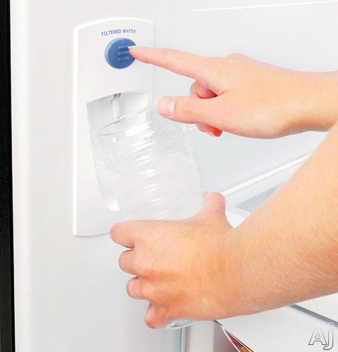 fridge with interior water dispenser ge pds22misww 22 2 cu ft arctica bottom freezer