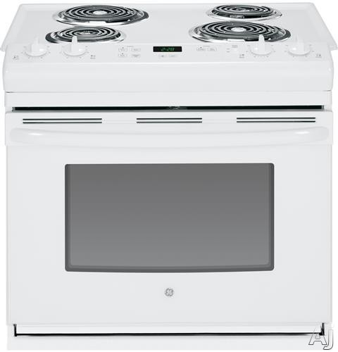 GE JDS28DFWW 30 Inch Drop-in Electric Range with 4 Coil Elements, 4.4 cu. ft. Oven, Chrome Drip Bowls and ADA Compliant