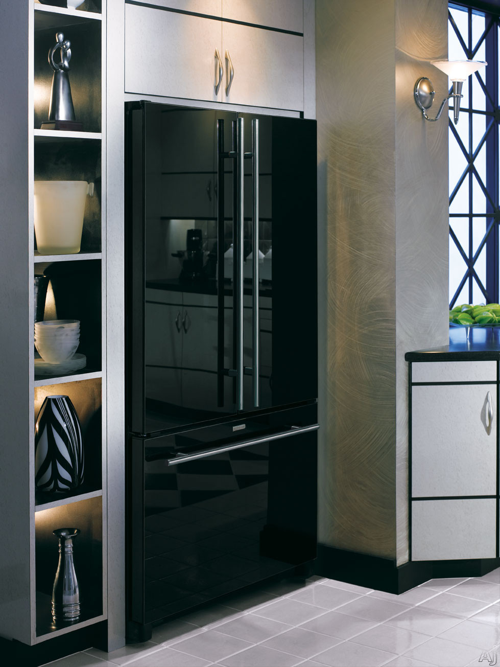 Jenn Air 39 Floating 39 Black Glass Fridge