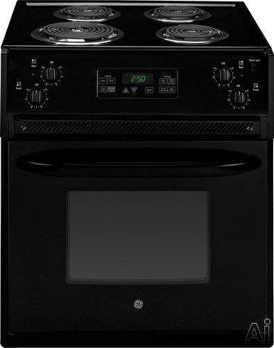 GE JM250DF 27 Inch Drop-in Electric Range with 4 Coil Elements, 3.0 cu. ft., Self-Clean, Chrome Drip Bowls, Electronic Clock/Timer, Star-K Certified and ADA Compliant
