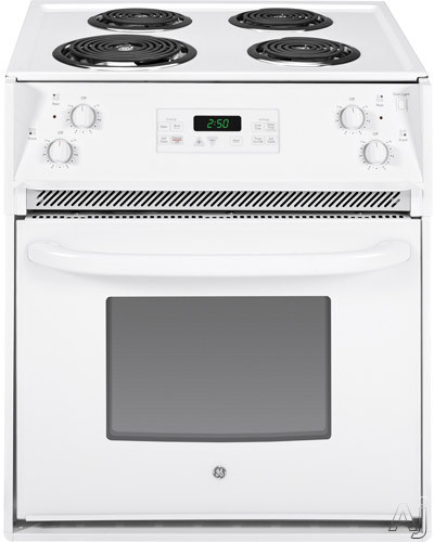 GE JM250DFWW 27 Inch Drop-in Electric Range with 4 Coil Elements, 3.0 cu. ft., Self-Clean, Chrome Drip Bowls, Electronic Clock/Timer, Star-K Certified and ADA Compliant: White