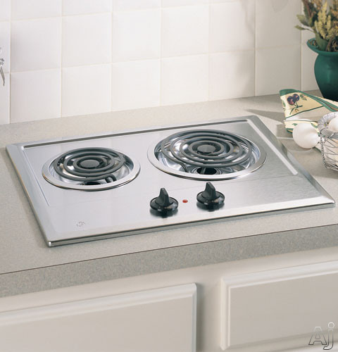 """GE JP201CBSS 21"""" Electric Cooktop with 2 Coil Elements, Removable Drip Bowls, Upfront Controls and, U.S. & Canada JP201CBSS"""
