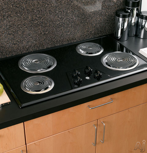 """GE JP626BKBB 36"""" Electric Cooktop with 4 Coil Elements, Removable Drip Bowls, Upfront Controls and, U.S. & Canada JP626BKBB"""