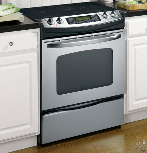 "GE JS750SFSS 30"" Slide-in Electric Range with 4.4 cu. ft . Convection Oven, 5 Ribbon Elements, Fast, U.S. & Canada JS750SFSS"