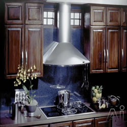 Best KEX273 Wall Mount Chimney Hood with Multiple Exterior/In-Line Blower Options, 4-Speed Push Button Control, 2 Halogen Lamps and Dishwasher Safe Mesh Filters