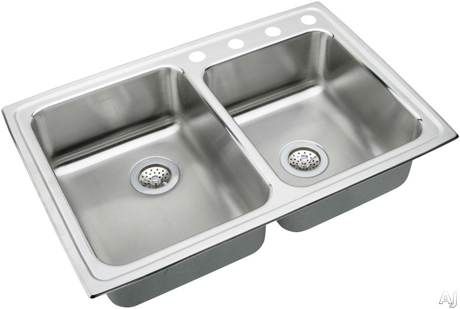 "Elkay Lustertone Collection LRAD25065S2 33"" Top Mount Double Bowl Stainless Steel Sink with, U.S. & Canada LRAD25065S2"