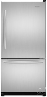 Ice Makers - KitchenAid Architect Series II KBRS22ETSS 21.9 Bottom-Freezer Refrigerator With Interior Water Dispenser Automatic Ice Maker Sabbath Mode & 4 Glass Shelves S