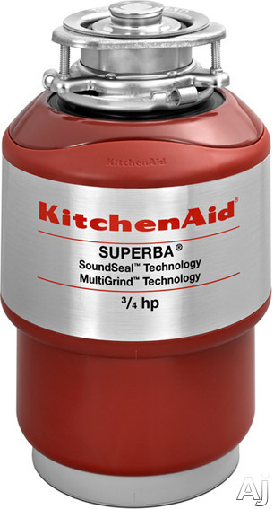 KitchenAid KCDS075T 3 / 4 HP Continuous Feed Waste Disposer with 1725 RPM Motor, Corrosion Resistant, U.S. & Canada KCDS075T