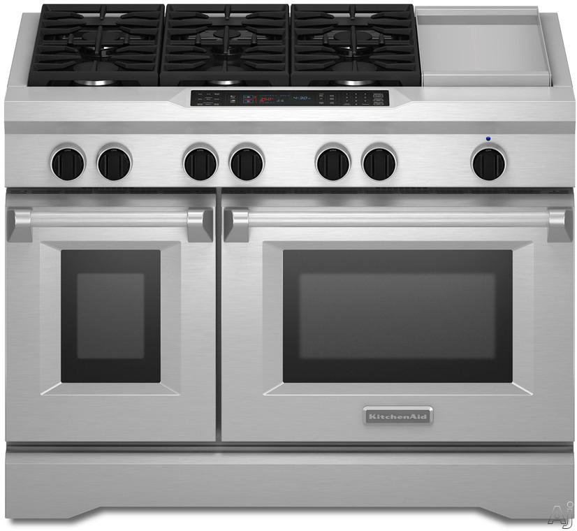 """KitchenAid KDRS483VSS 48"""" Commercial-Style Dual Fuel Range with 6.3 cu. ft. Total Capacity Self-Clean Ovens, True Convection Bake, Two 20K BTU Dual-Flame Burners, Glass Touch Controls and Star-K Certified: Stainless Steel"""