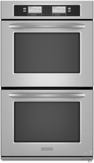 "KitchenAid Architect Series II KEBU208SSS 30"" Double Steam-Assist Electric Wall Oven With 4.3 Cu Ft Self-Cleaning Dual-Fan Convection Ovens And Glass-Touch LC"